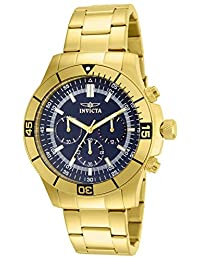 Invicta Men's 12844 Specialty Chronograph 18K Gold Ion-Plated Stainless-Steel and Blue Dial Watch