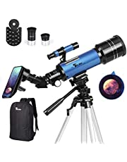 TELMU Telescope, 70mm Aperture 400mm AZ Mount Astronomical Refracting Telescope Adjustable(17.7In-35.4In) Portable Travel Telescopes with Backpack, Phone Adapter