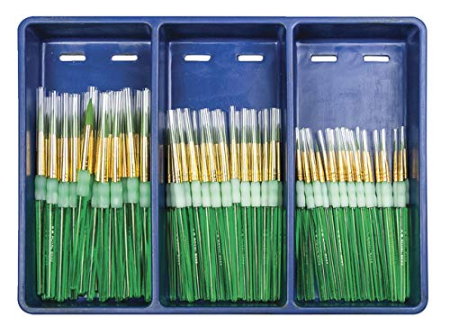 Royal Brush Big Kids Choice Round Brushes with Aprons, Assorted Size, Pack of 72 Brushes and 12 Aprons by ROYAL BRUSH