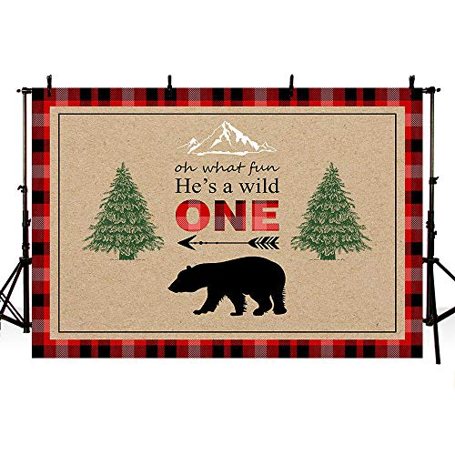 MEHOFOTO Lumberjack First Birthday Photography Backdrop Wild One Boy Red Black Plaid Bear Camping Adventure Tribal Party Decoration Banner Pine Trees Photo Studio Background 7x5ft