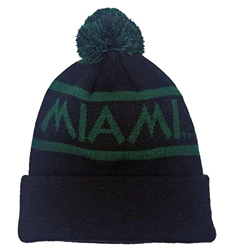 Top Miami Hat - Top of the World NCAA Slugfest Pom Knit Hat (Miami Hurricanes)