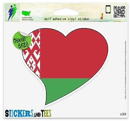 "Belarus Flag Heart car window bumper sticker decal 5/"" x 3/"""