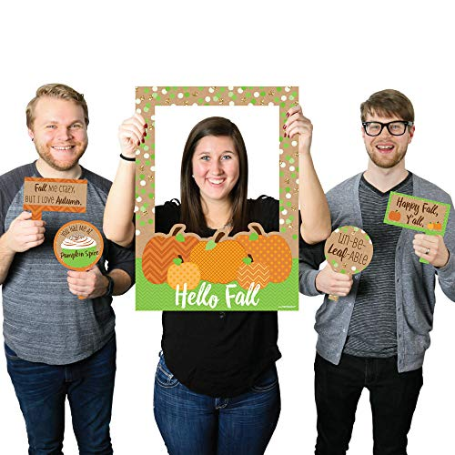 Big Dot of Happiness Pumpkin Patch - Fall & Thanksgiving Party Photo Booth Picture Frame & Props - Printed on Sturdy Material