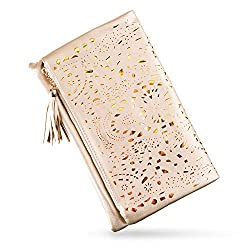 Bmc Womens Glimmering Gold Perforated Cut Out Pattern Gold Accent Background Foldover Pouch Fashion Clutch Handbag
