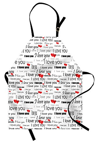 Ambesonne Romantic Apron, I Love You Quote with Hearts Romance Couple Valentine Plain Backdrop, Unisex Kitchen Bib Apron with Adjustable Neck for Cooking Baking Gardening, Vermilion Black White ()