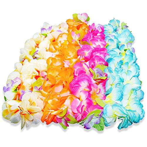 BOSHENG Hawaiian Leis Thickened Dance Garland Flower Leis for Party Favor Hula Hawaiian Dance,Tropical Hawaiian Luau Leis 4 Count