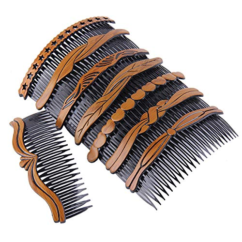8Pcs Plastic Wood Grain Hollow Hair Side Combs Retro Hair Comb Pin Clips Headdress with Teeth for Lady Women Girls Hair Styling Accessories (Hair Comb Accessories)