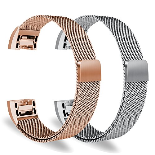 """Oitom for Fitbit Charge 2 Accessory Replacement Band,Small 5.1""""-6.7"""",2 Pack Silver+Rose Gold"""