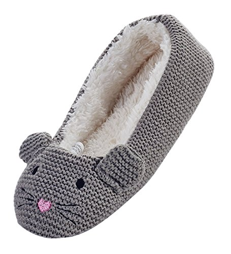 LA PLAGE Women's Natural Animal on upper house slipper size 8 US grey (Mouse Grey Rubber)