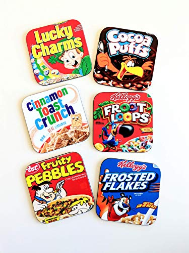 - Breakfast Cereal Coasters Set Fruit Loops Cocoa Puffs Lucky Charms Fruity Pebbles Cereal Lover