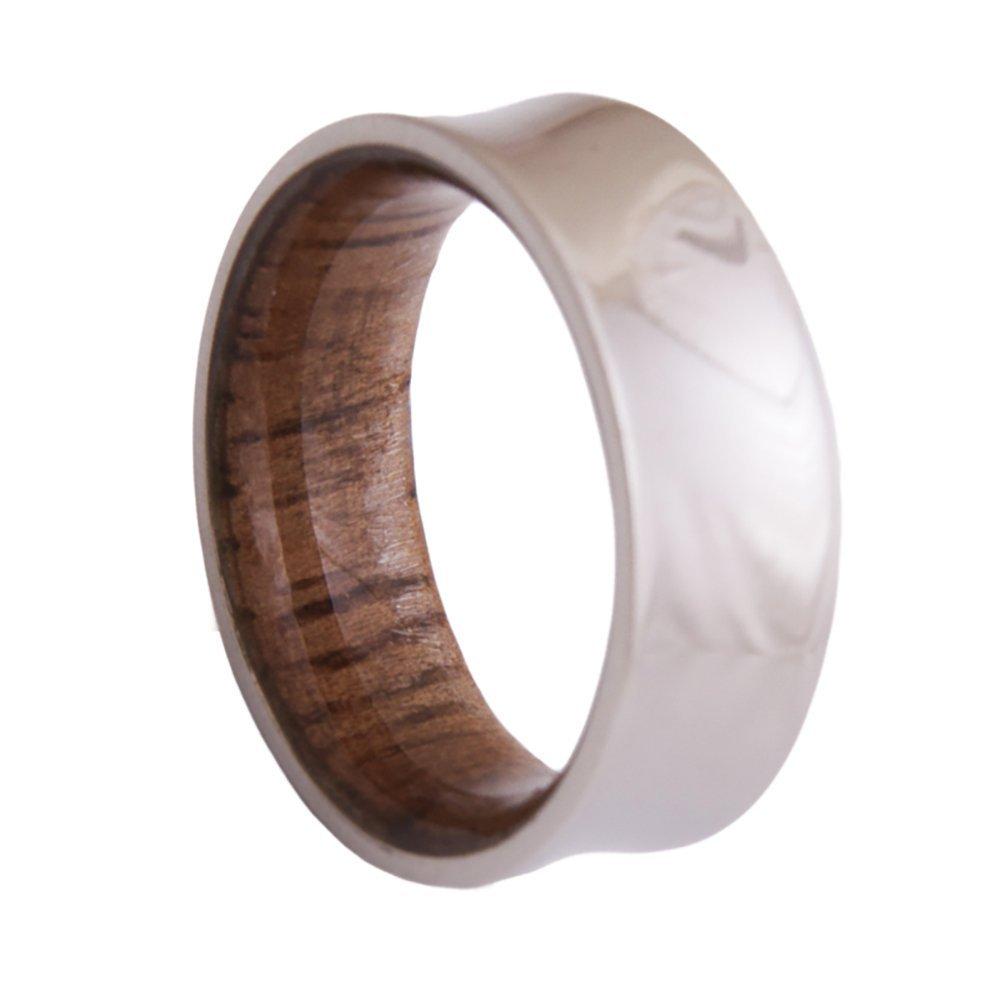 Dimalta Gioielli Titanium Wood Ring Men's Wedding Band Engagement Rings