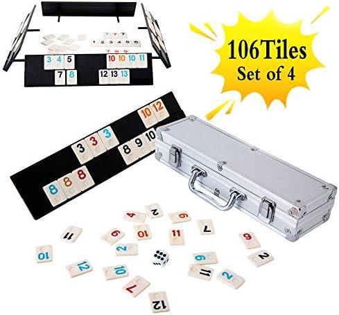 Homwom 106 Tiles Rummy Game – Juego de Mesa Rummy de Viaje con Estuche de Aluminio y 4 bandejas Antideslizantes y duraderas: Amazon.es: Juguetes y juegos