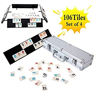Homwom 106 Tiles Rummy Game - Travel Games Rummy Board Game Rummy Set with Aluminum Case & 4 Anti-Skid Durable Trays