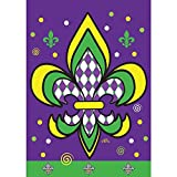 Harlequin Yellow Green Purple Fleur de Lis 18 x 13 Rectangular Double Applique Small Garden Flag