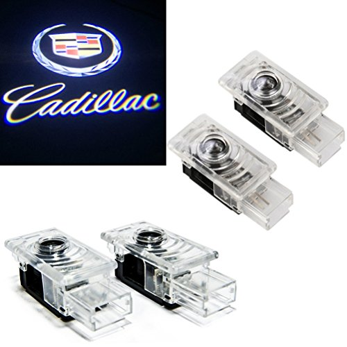 (Grolish Cree Led 4 piece Car Door LED Logo Projector Lights for Cadillac SRX XTS ATS)