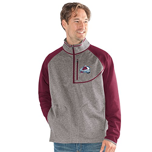 G-III Sports NHL Colorado Avalanche Men's Mountain Trail Half Zip Pullover, X-Large, Gray