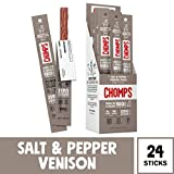 CHOMPS Grass Fed Venison Jerky Snack Sticks, Keto, Paleo, Whole30 Approved, Non-GMO, Gluten Free, Sugar Free, 100 Calorie Snacks, 1.15 Oz Meat Stick, Pack of 24 - Packaging May Vary