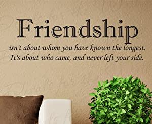 Friendship isn't About Who You've Known the Longest - Friends - Quote Sticker Decoration, Art Letters Decor, Vinyl Saying, Wall Lettering Decal