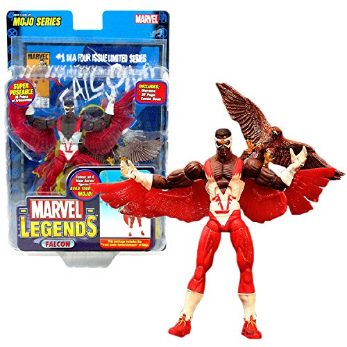 Marvel ToyBiz Year 2006 Legends Mojo Series 6 Inch Tall Action Figure - Falcon with 36 Points of Articulation, Pet Bird Redwing, Diorama, Comic Book and Mojo's Front Lower Torso/Stomach