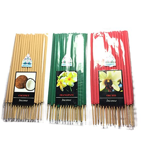 3 Pcs 90 STICKS (COCONUT,FRANGIPANI,ORCHID) INCENSE STICK AROMA FRAGRANCE PREMIUM WOODS SCENT NATURAL