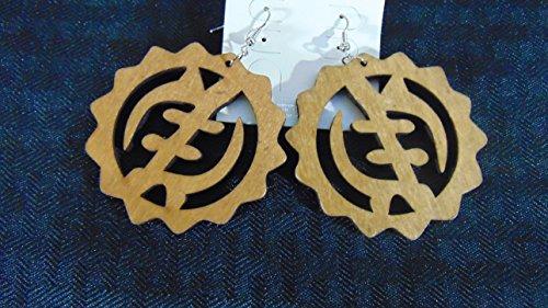 Gye Nyame Ring (Gye Nyame Adinkra Symbol Omnipresence Of God Fashion Wooden Earrings Natural)