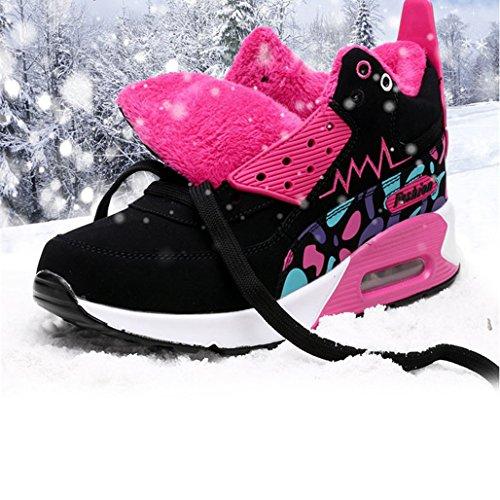 Botas Deportes de Zapatillas Alta Roja Hishoes Mantener Libre Montaña Mujer Zapatilla Botines Caliente Rosa Otoño Aire Invierno BP5WqwWE
