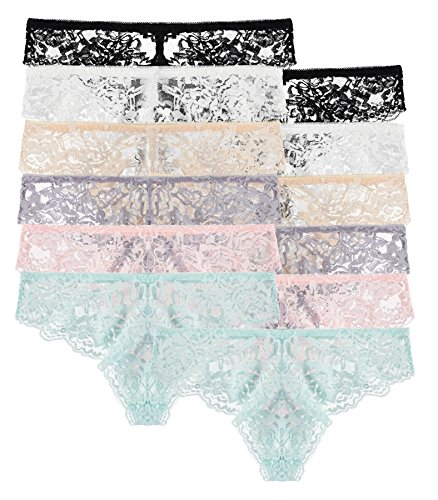 Lace Trimmed Bikini Panties (12 Pack: Floral Lace Stretchy Bikini Panties)