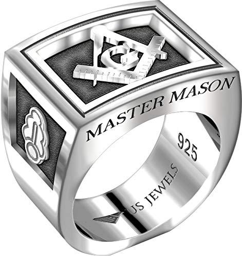 US Jewels And Gems Men's Heavy 0.925 Sterling Silver Freemason Blue Lodge Ring Band, Size 10