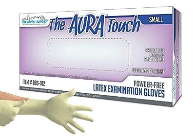 DDS Aura Touch Powder Free Latex Exam Examination Gloves, Natural (Small) -100/bx