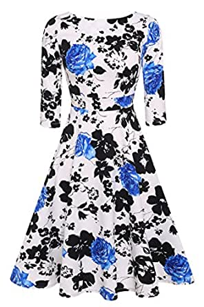 ACEVOG 50s Hepburn Style Vintage Long Sleeve Floral Party Cocktail Evening Dress, Small, Blue