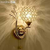 WDBM WALL LAMP Bedroom Bed Living Room Gold Crystal Led Wall Lights Hanging Leaves)