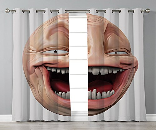 iPrint Stylish Window Curtains,Humor Decor,Poker Face Guy Meme Laughing Mock Person Smug Stupid Odd Post Forum Graphic,Peach Pearl,2 Panel Set Window Drapes,for Living Room Bedroom Kitchen Cafe
