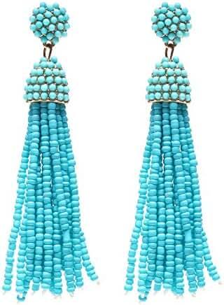 NLCAC Women's Beaded tassel earrings Long Fringe Drop Earrings Dangle 6 Colors