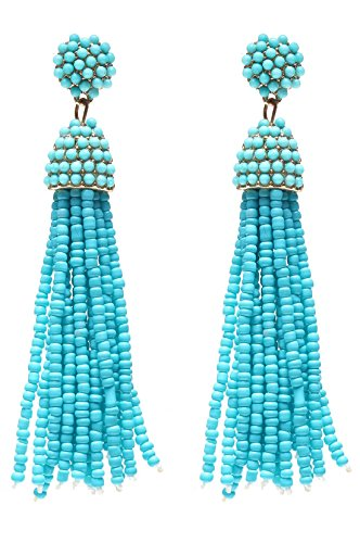 NLCAC Women's Beaded tassel earrings Long Fringe Drop Earrings Dangle Turquoise (Beaded Clip On Earrings)