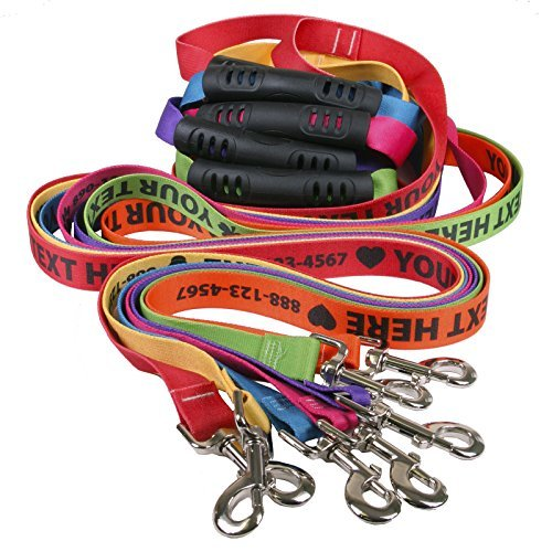Personalized Dog Leashes with Custom Hi-Def Text and Art, an Embroidered Dog Leash Alternative - Available in 6 Sizes (1 Pack)