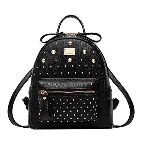 Damen Leder Rucksack Schulrucksack Umhängetasche Handtasche Niet Dekor Reisen Tasche Schulranzen schwarz
