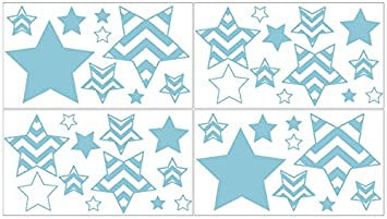 Amazoncom Sweet Jojo Designs Turquoise And White Chevron Zig Zag