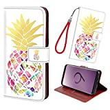 Galaxy S9 Plus/S9+ Case,Premium PU Leather Wallet Flip Phone Protective Case Cover with Card Slots Money Pocket Magnetic Closure & Free Wrist Strap for Samsung Galaxy S9 Plus/S9+[Pineapple Gold]