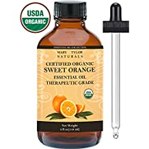 Organic Orange Essential Oil, Large 4 oz, USDA Certified Organic by Mary Tylor Naturals 100% Pure Essential Oil, Therapeutic Grade, Citrus sinensis