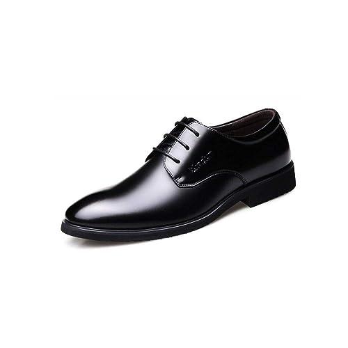 762569e4b6716 FF Zapatos de Cuero Zapatos de Hombre Negocio Juvenil Zapatos de Vestir  Formal de Cuero Genuino Negro  Amazon.es  Zapatos y complementos