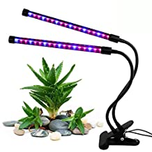 MOONBROOK Dual-lamp Grow Light 36LEDs  Adjustable 3 Modes Timer (3 H/6H/12H) Dimmable 4 Levels Grow Lamp Lights Bulbs 360 Degree Adjustable Indoor Plant Lights