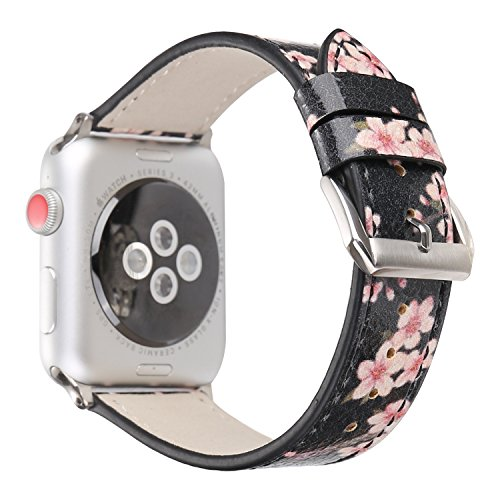 TCSHOW Compatible for Apple Watch Band 38mm,38mm Soft PU Leather Pastoral/Rural Style Replacement Strap Wrist Band with Silver Metal Adapter for Series 3 Series 2 and Series 1 (Z9)