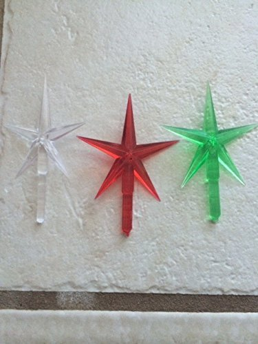 stars plastic large for the top of the ceramic christmas tree red green clear