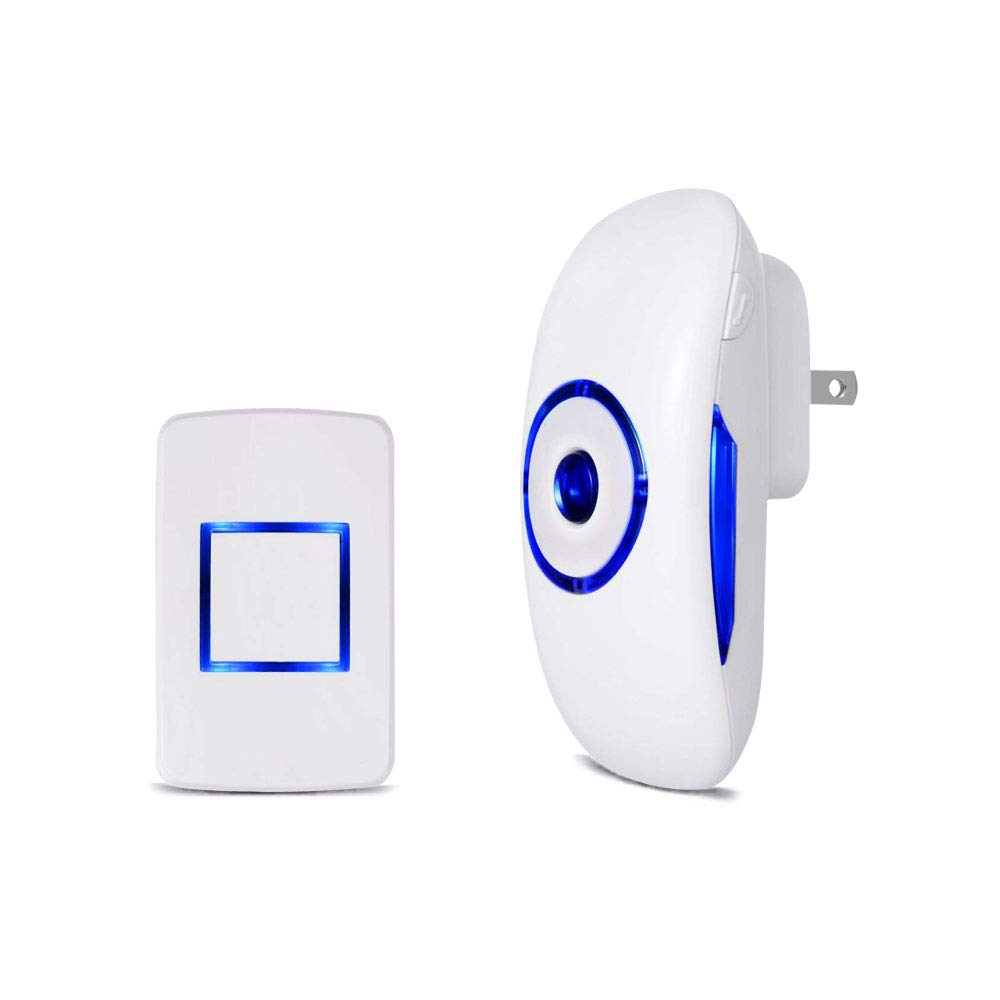 Wireless Doorbell Anynow Waterproof Door Bell Chime Kit Operating at 1000 Feet with 36 Chimes, 4 Level Volume, LED Indicator, 1 Plug-In Receiver & 1 Push Button