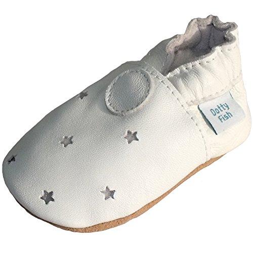 White Leather Pram Shoes - 9