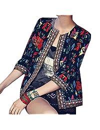 CRYYU Women Embroidery Ethnic Print Open Front 3/4 Sleeve Blazer Coat