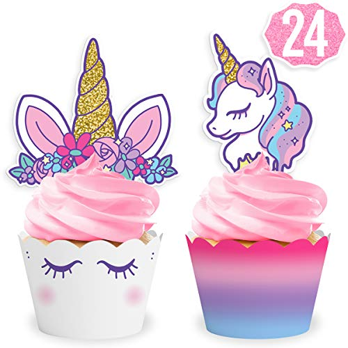 xo, Fetti Unicorn Cupcake Toppers + Wrappers | Unicorn Party Supplies + Unicorn Birthday Cupcake Decorations - Set of 24 ()