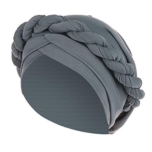 KCPer Fashion Women Braid India Hat Muslim Ruffle Cancer Chemo Beanie Turban Wrap Cap, Braid Silky Turban Hats Headwrap Headwear (Gray)
