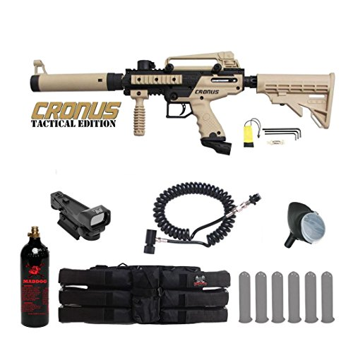 MAddog Tippmann Cronus Tactical Red Dot Paintball Gun Package - Black/Tan ()