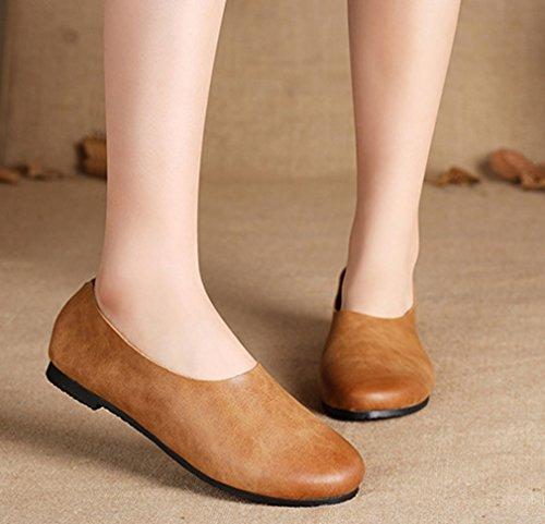Soojun Kvinna Klassiker Modet Läder Slip-on Loafer Brun